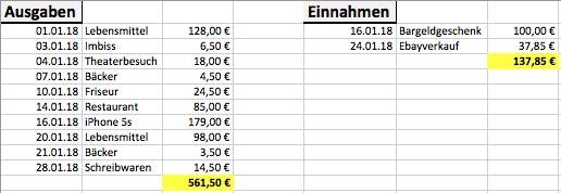 Einnahmen und Ausgaben variabel